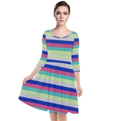 Stripey 6 Quarter Sleeve Waist Band Dress