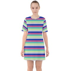 Stripey 6 Sixties Short Sleeve Mini Dress by anthromahe