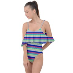 Stripey 6 Drape Piece Swimsuit by anthromahe