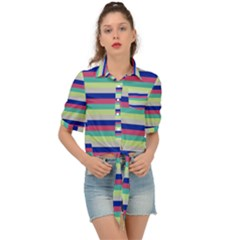 Stripey 6 Tie Front Shirt  by anthromahe