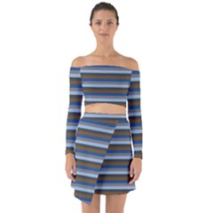 Stripey 7 Off Shoulder Top With Skirt Set by anthromahe