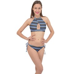 Stripey 7 Cross Front Halter Bikini Set by anthromahe