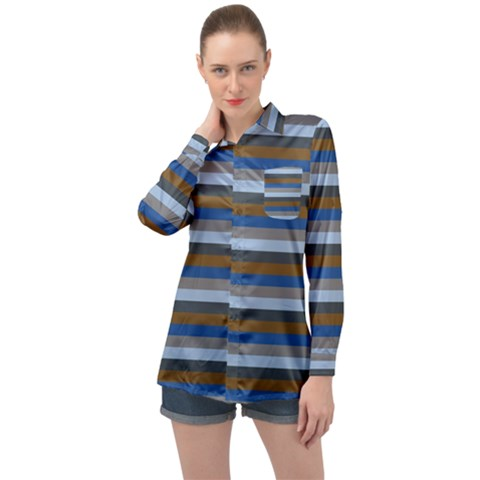 Stripey 7 Long Sleeve Satin Shirt by anthromahe