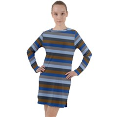 Stripey 7 Long Sleeve Hoodie Dress