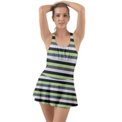 Stripey 8 Ruffle Top Dress Swimsuit by anthromahe