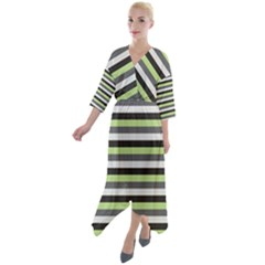 Stripey 8 Quarter Sleeve Wrap Front Maxi Dress by anthromahe