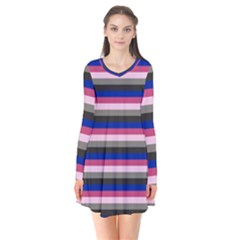 Stripey 9 Long Sleeve V-neck Flare Dress by anthromahe