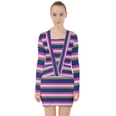 Stripey 9 V-neck Bodycon Long Sleeve Dress by anthromahe