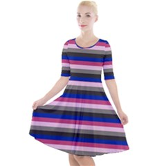 Stripey 9 Quarter Sleeve A-line Dress by anthromahe