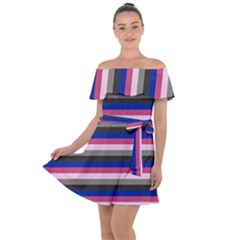 Stripey 9 Off Shoulder Velour Dress by anthromahe