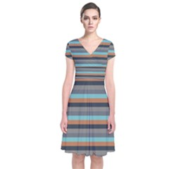 Stripey 10 Short Sleeve Front Wrap Dress