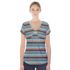 Stripey 10 Short Sleeve Front Detail Top by anthromahe