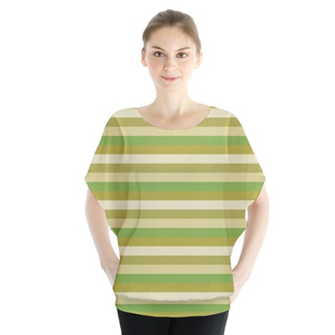 Stripey 11 Batwing Chiffon Blouse by anthromahe