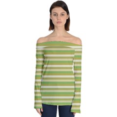 Stripey 11 Off Shoulder Long Sleeve Top by anthromahe