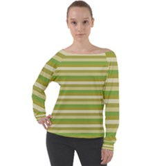 Stripey 11 Off Shoulder Long Sleeve Velour Top