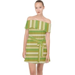 Stripey 11 Off Shoulder Chiffon Dress by anthromahe