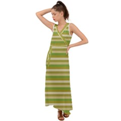 Stripey 11 V-neck Chiffon Maxi Dress by anthromahe