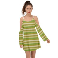 Stripey 11 Kimono Sleeves Boho Dress