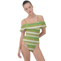 Stripey 11 Frill Detail One Piece Swimsuit by anthromahe
