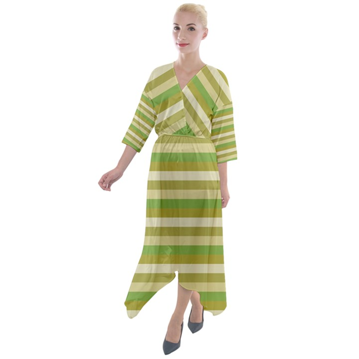 Stripey 11 Quarter Sleeve Wrap Front Maxi Dress