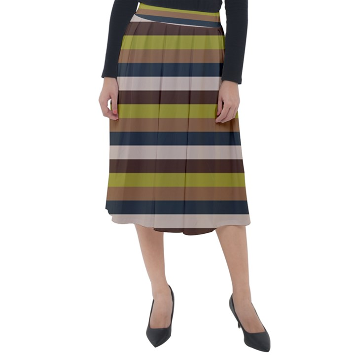 Stripey 12 Classic Velour Midi Skirt