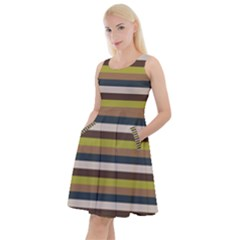 Stripey 12 Knee Length Skater Dress With Pockets