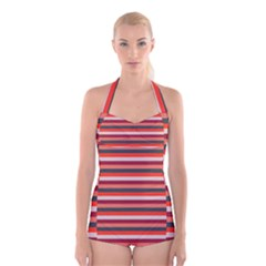 Stripey 13 Boyleg Halter Swimsuit