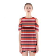 Stripey 13 Shoulder Cutout One Piece Dress