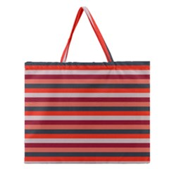 Stripey 13 Zipper Large Tote Bag