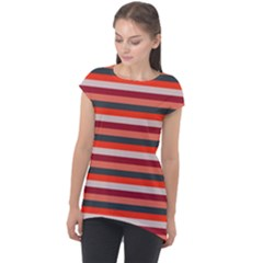 Stripey 13 Cap Sleeve High Low Top
