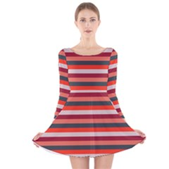 Stripey 13 Long Sleeve Velvet Skater Dress