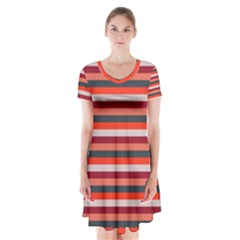 Stripey 13 Short Sleeve V-neck Flare Dress
