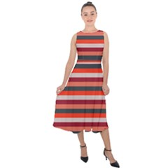 Stripey 13 Midi Tie-Back Chiffon Dress