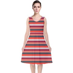 Stripey 13 V-Neck Midi Sleeveless Dress