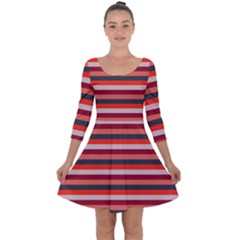 Stripey 13 Quarter Sleeve Skater Dress