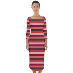 Stripey 13 Quarter Sleeve Midi Bodycon Dress