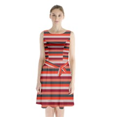 Stripey 13 Sleeveless Waist Tie Chiffon Dress