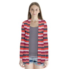 Stripey 13 Drape Collar Cardigan