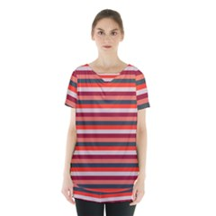 Stripey 13 Skirt Hem Sports Top