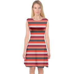 Stripey 13 Capsleeve Midi Dress