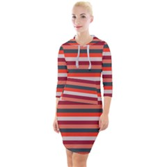 Stripey 13 Quarter Sleeve Hood Bodycon Dress