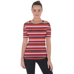 Stripey 13 Shoulder Cut Out Short Sleeve Top