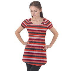Stripey 13 Puff Sleeve Tunic Top