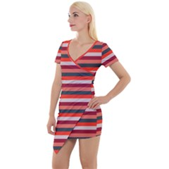Stripey 13 Short Sleeve Asymmetric Mini Dress