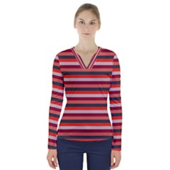 Stripey 13 V-Neck Long Sleeve Top