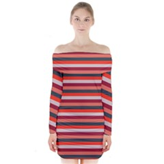 Stripey 13 Long Sleeve Off Shoulder Dress