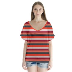 Stripey 13 V-Neck Flutter Sleeve Top