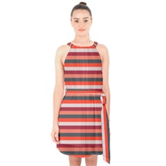 Stripey 13 Halter Collar Waist Tie Chiffon Dress