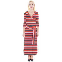 Stripey 13 Quarter Sleeve Wrap Maxi Dress