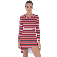 Stripey 13 Asymmetric Cut-Out Shift Dress